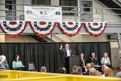 Photo of Frank Foti speaking at the Keel Laying Ceremony for the Maneuver Support Vessel (Light)