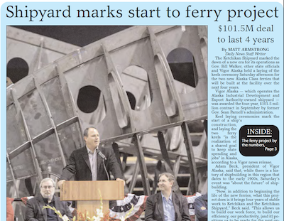 Image of story that appeared in Ketchikan Daily News on the Alaska Class Ferries Day Boats