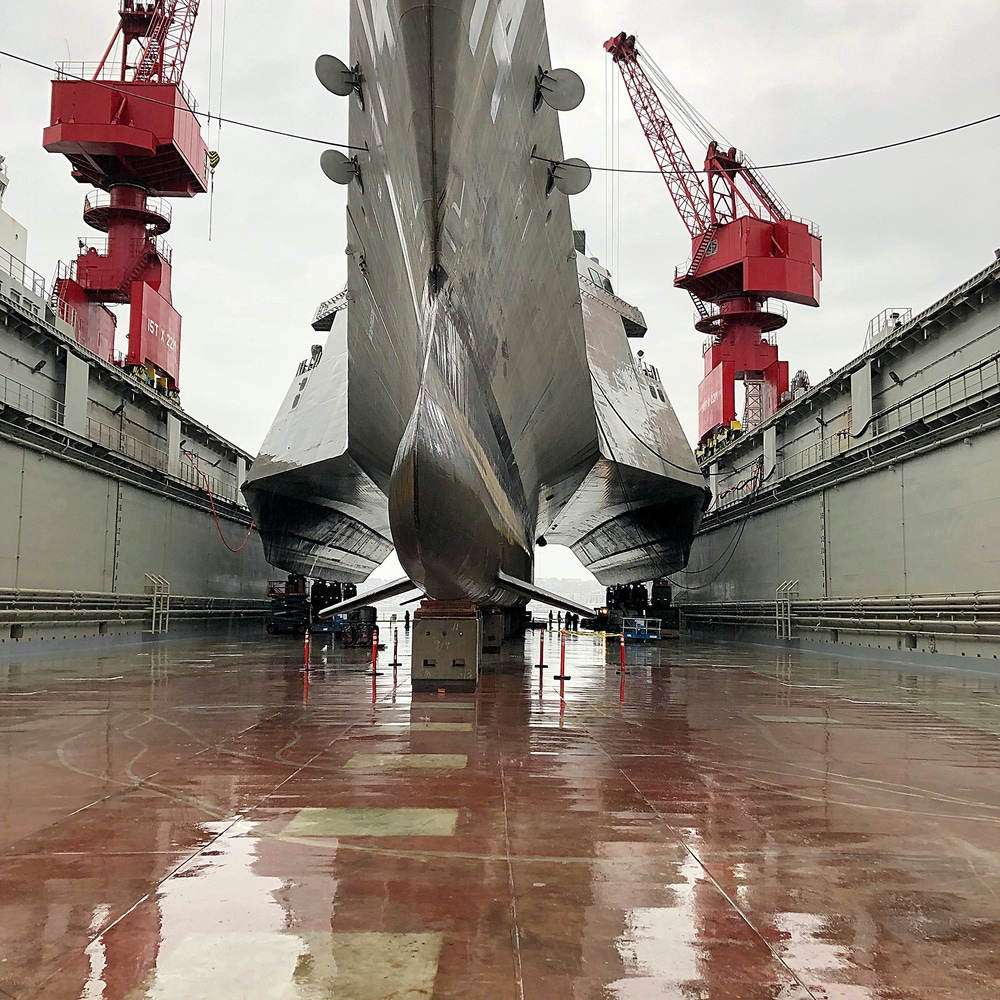 Photo of a ship in a drydock