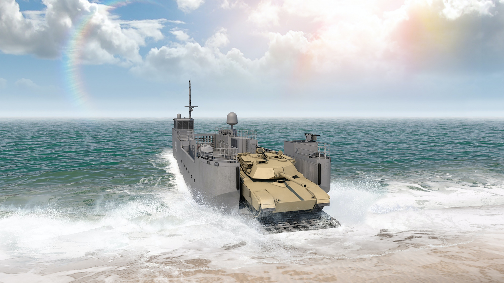View of a tank disembarking from a Maneuver Support Vessel (Light) on a beach